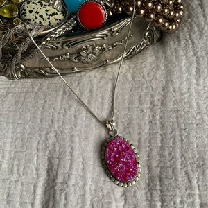 Jewelry - Sterling Silver Pink Druzy Crystal Oval Necklace